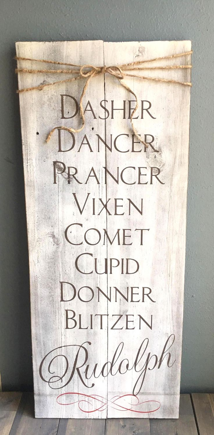 Dasher dancer prancer vixen comet Cupid donner blitzen Rudolph rustic wood sign with twine bow, reindeer name rustic Christmas decor