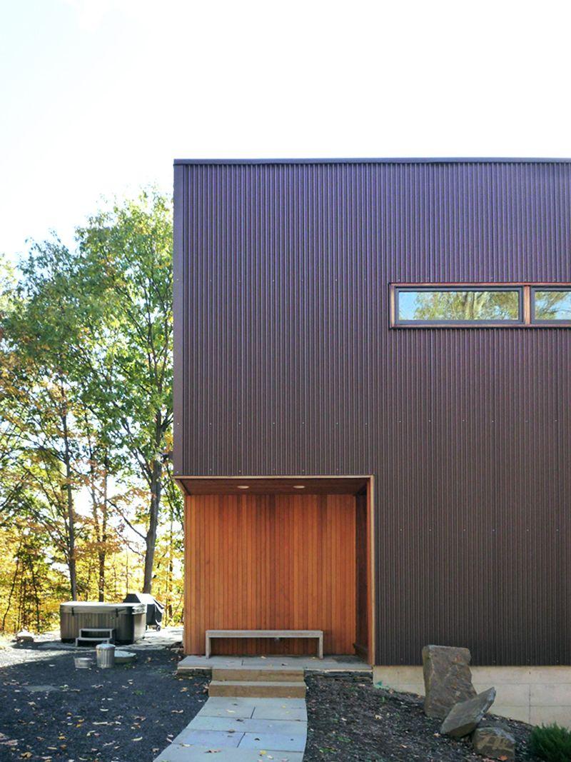 Modern Modular Prefab Home Entry Corrugated Metal Siding Cedar Siding Wood Siding Exterior