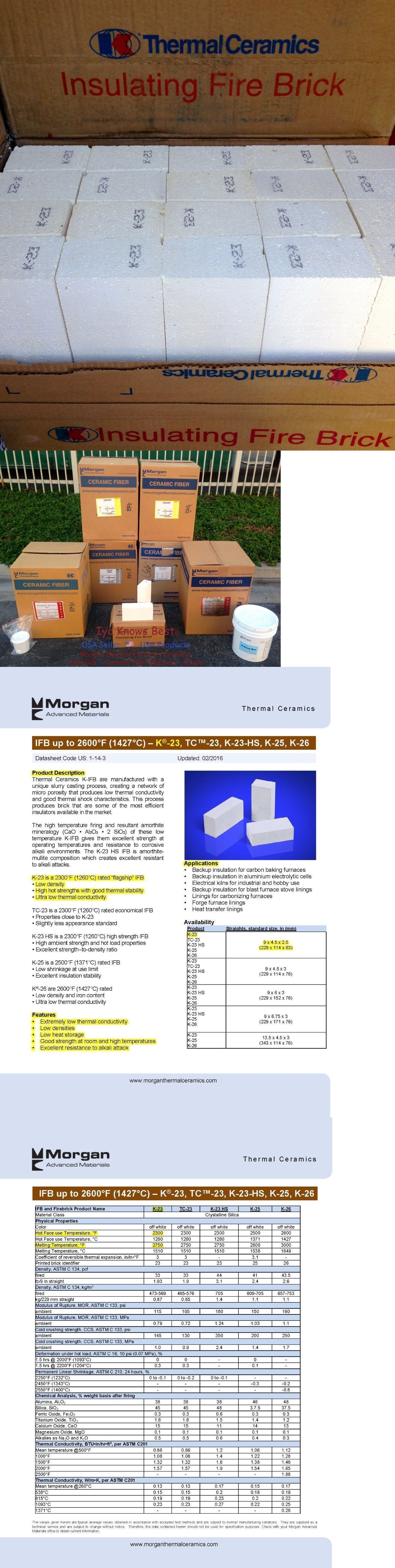 K23 Insulating Firebricks 9 X 4 5 X 2 5 Morgan Thermal Ceramics 2300f Box Of 3 Firebrick Ceramics Brick