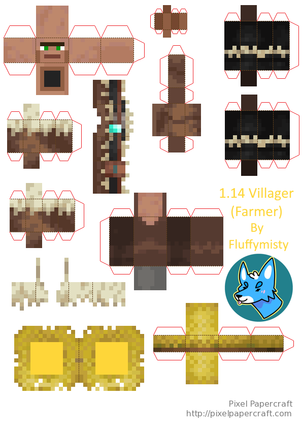 Papercraft 1 14 Villager Farmer Papercraft Minecraft Skin Minecraft Crafts Minecraft Templates