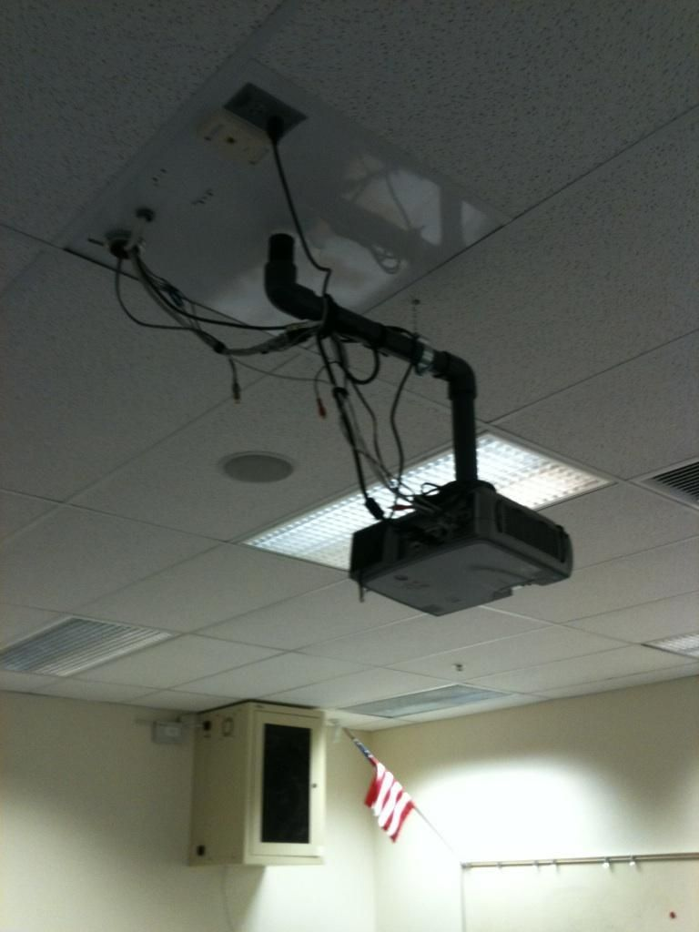 A ceiling-mounted projector installation, complete with chewing gum ...