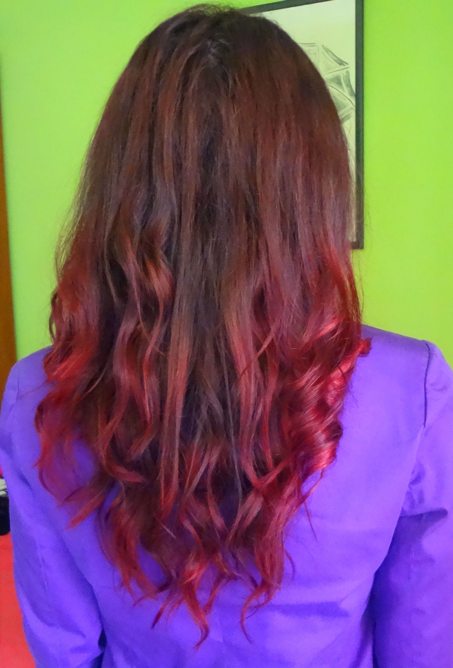 Dark brown violet burgundy red ombre hair i created a burgundy color ombre on my dyed hair - Ombre hair marron ...