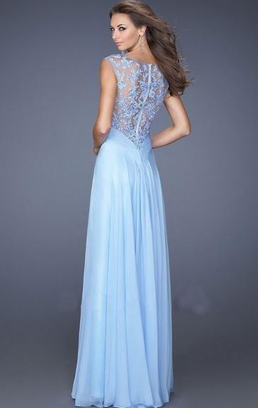 quality design d4687 7de18 Wunderbares bodenlanges blaues Chiffon Ballkleid Abendkleid ...