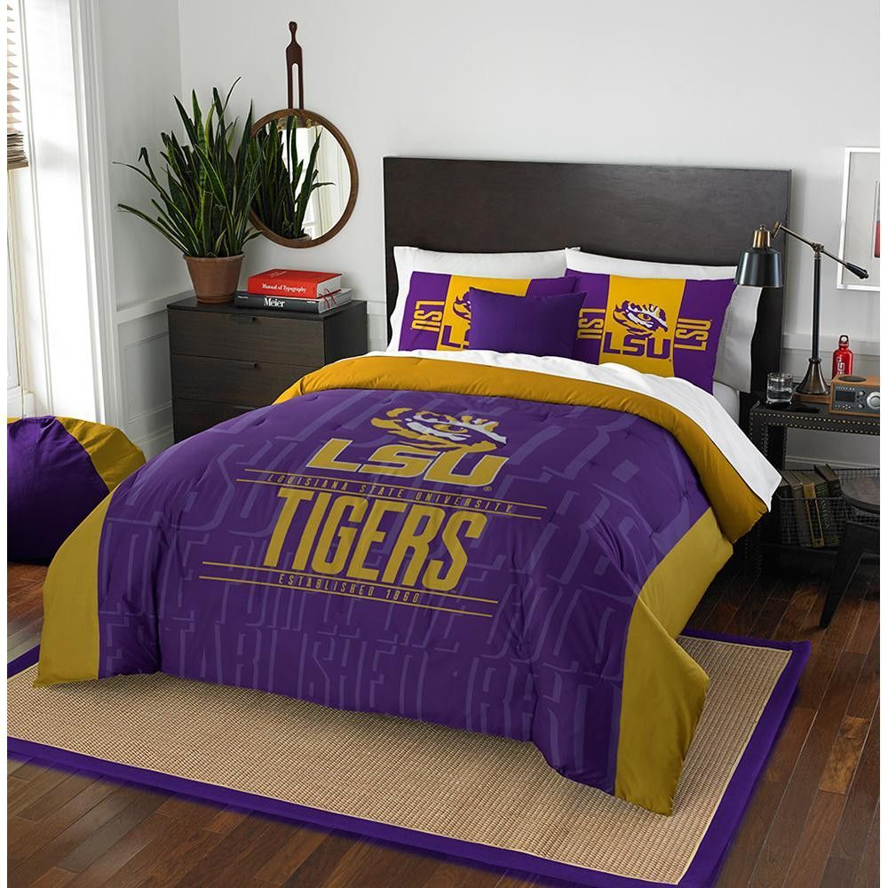 Dorm rooms at stanford lsu tigers ncaa full comforter set modern take series   full
