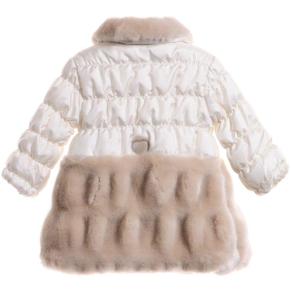 Miss Blumarine - Baby Girl Ivory Puffer Coat with Fur Trims ...