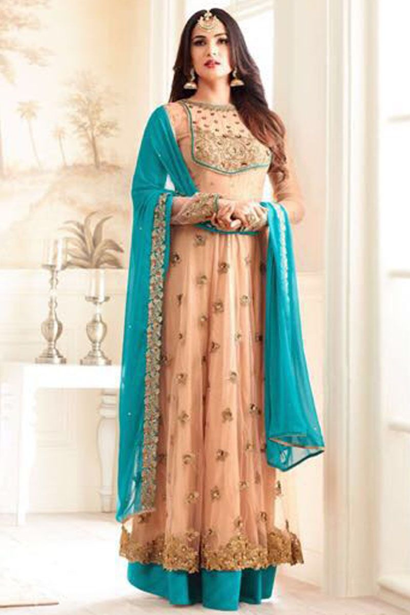 Blush pink u blue heavy embroidered net fabric indian bride wedding