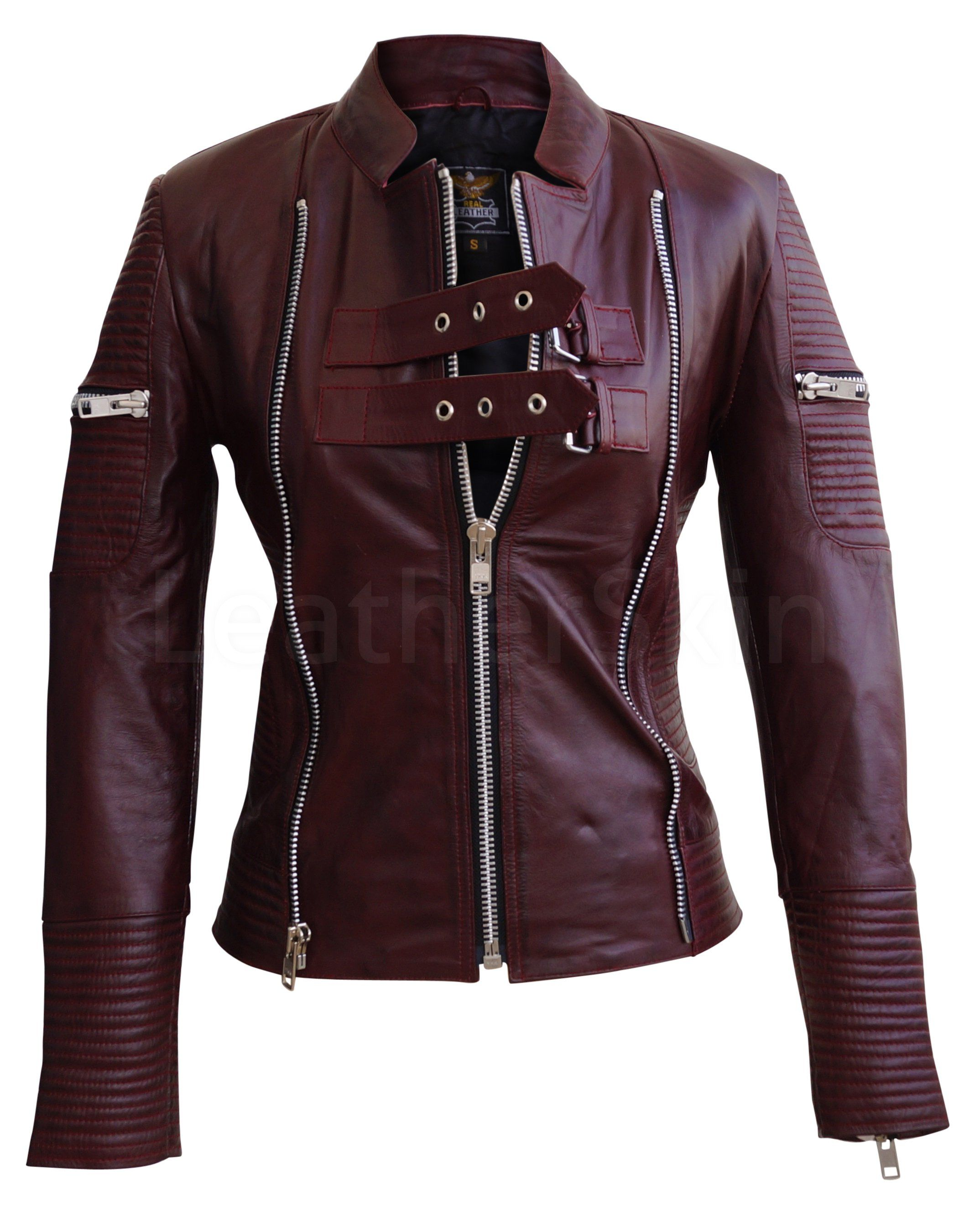 Women Distressed Maroon Red Sheep Skin Rib Quilted Genuine Leather Jacket Leather Jackets Women Leather Jacket Leather Blazer Women [ 2700 x 2148 Pixel ]