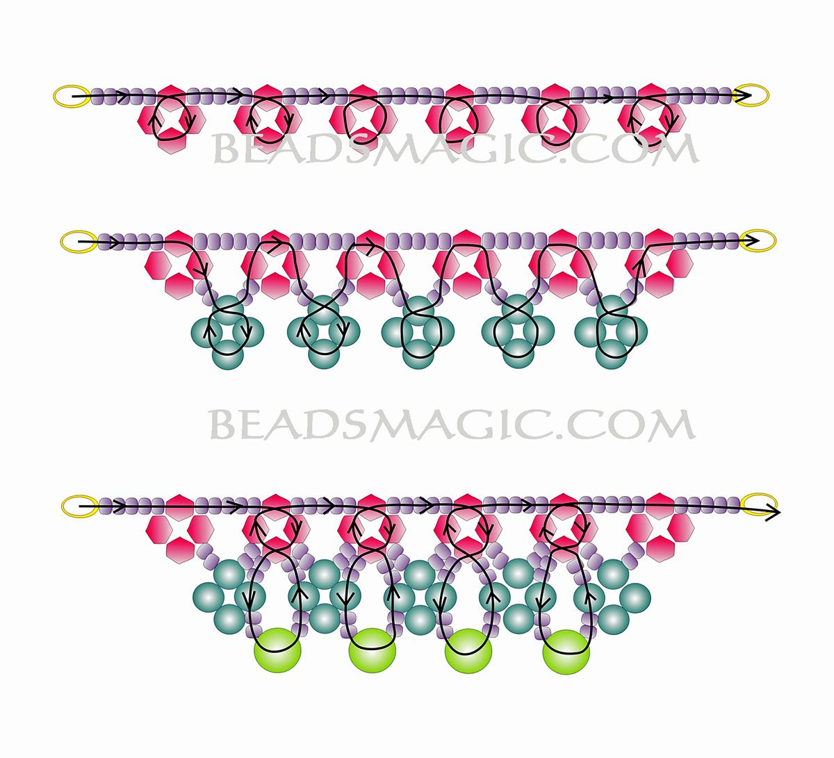 Free pattern for necklace May Day | Collares, Patrones y Abalorios