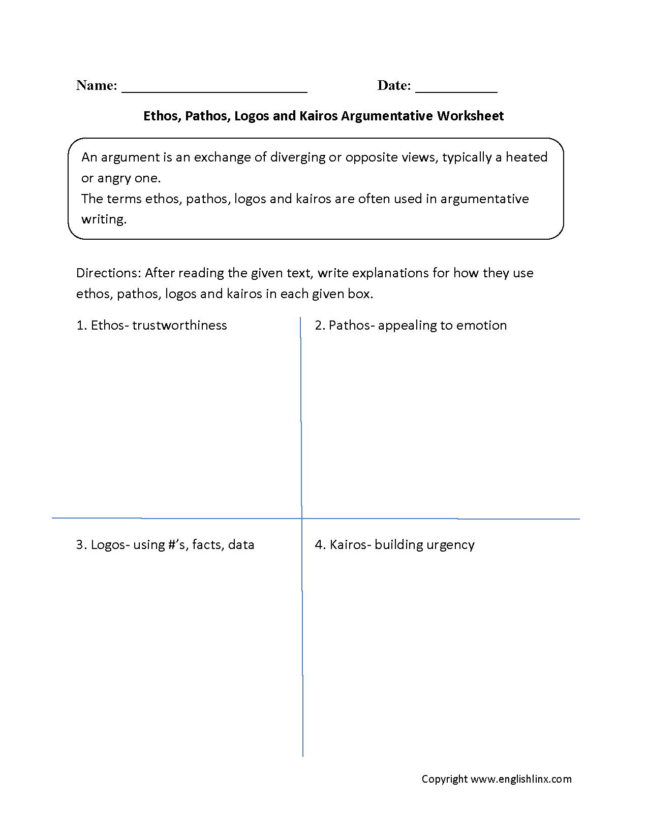 Ethos Pathos Logos Kairos Argumentative Worksheets