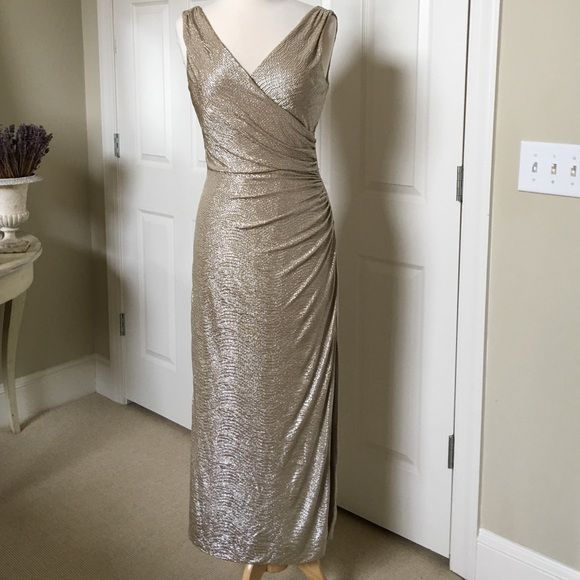 Ralph Lauren Silver Ruched Evening Gown