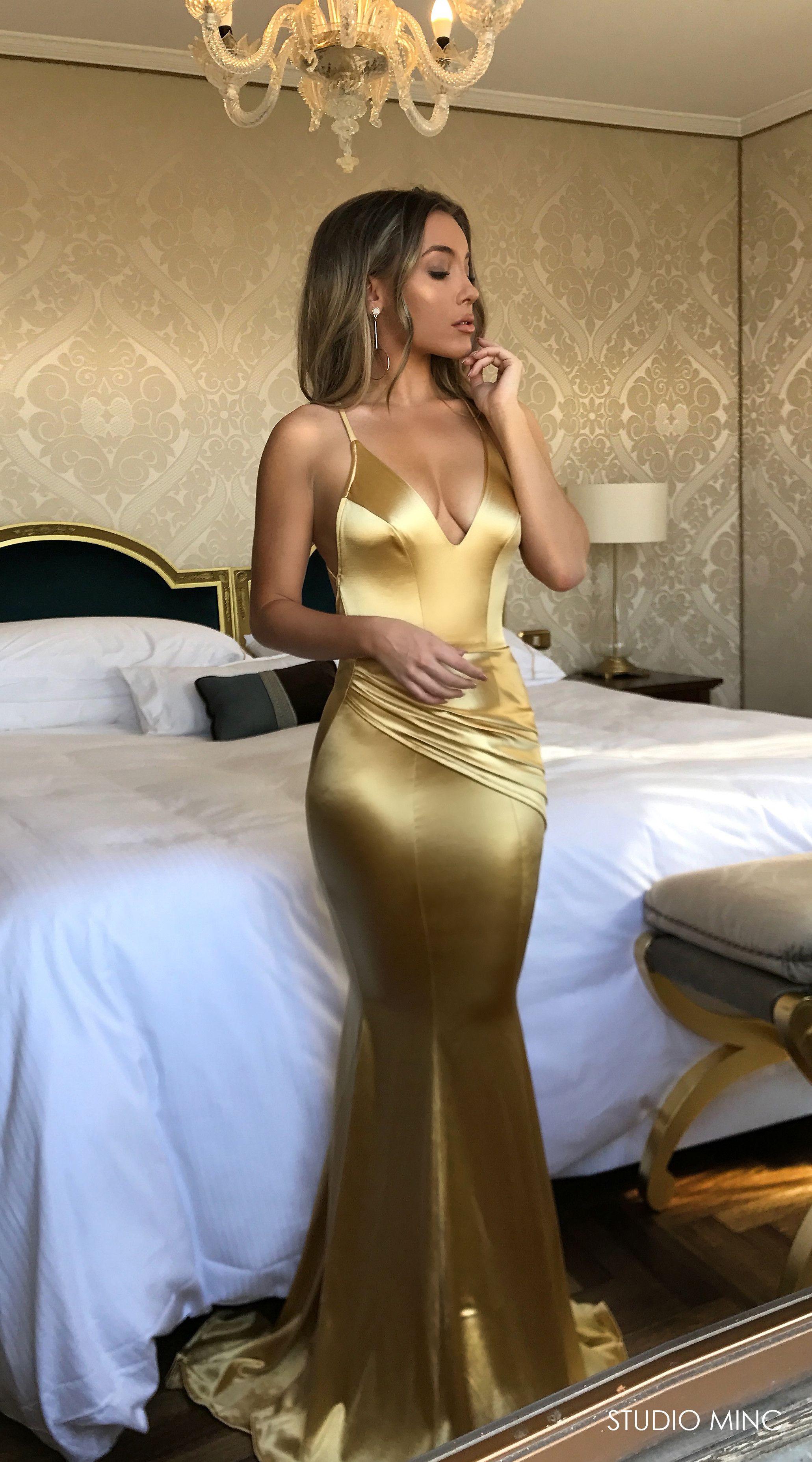Gold Satin Spell Dress By Studio Minc Formal Prom Backless Dress Blue Mermaid Prom Dress Prom Dresses Backless Prom Dresses [ 3709 x 2061 Pixel ]