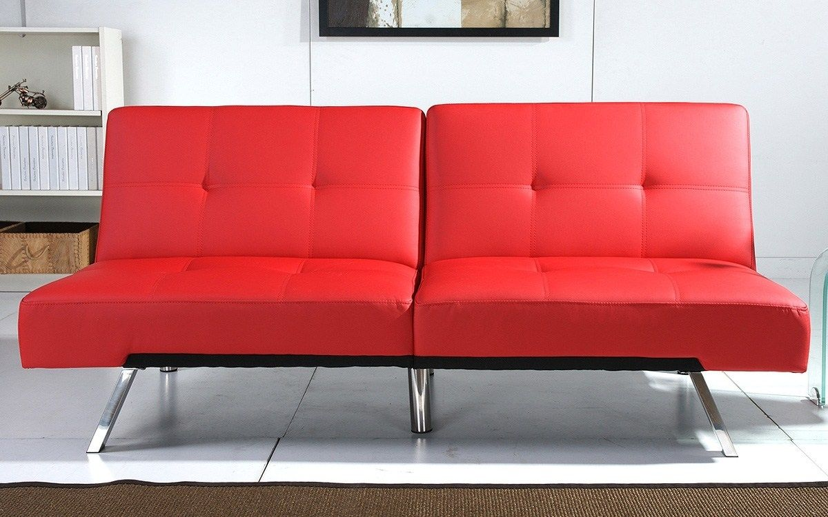 Rotes Leder Schlafsofa Sessel Home Decor Love Seat Furniture
