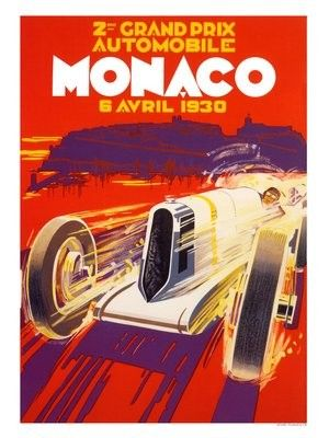 1930 Monaco French Riviera Vintage Style Racing Poster 16x24
