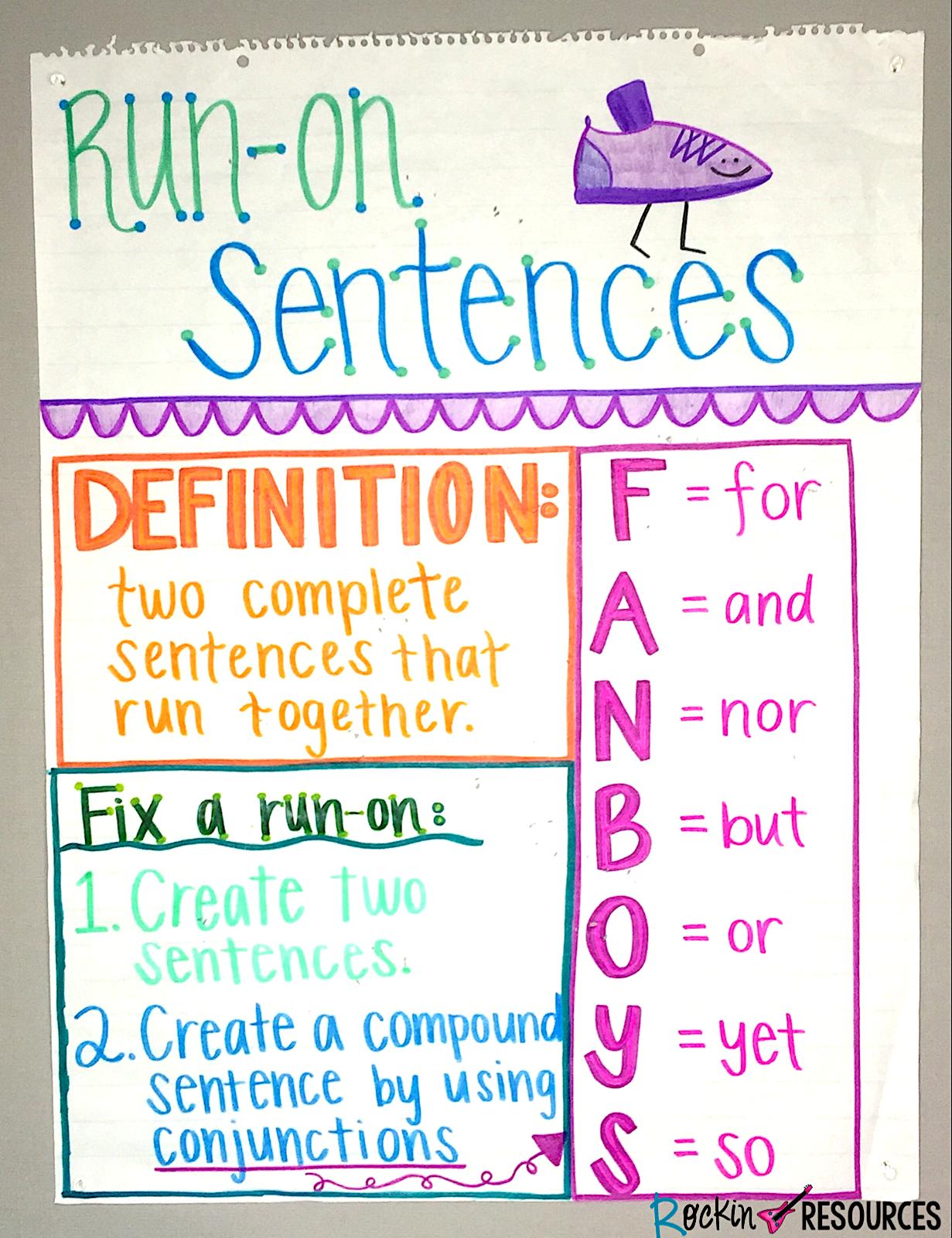 Writing Mini Lesson 4 Run On Sentences