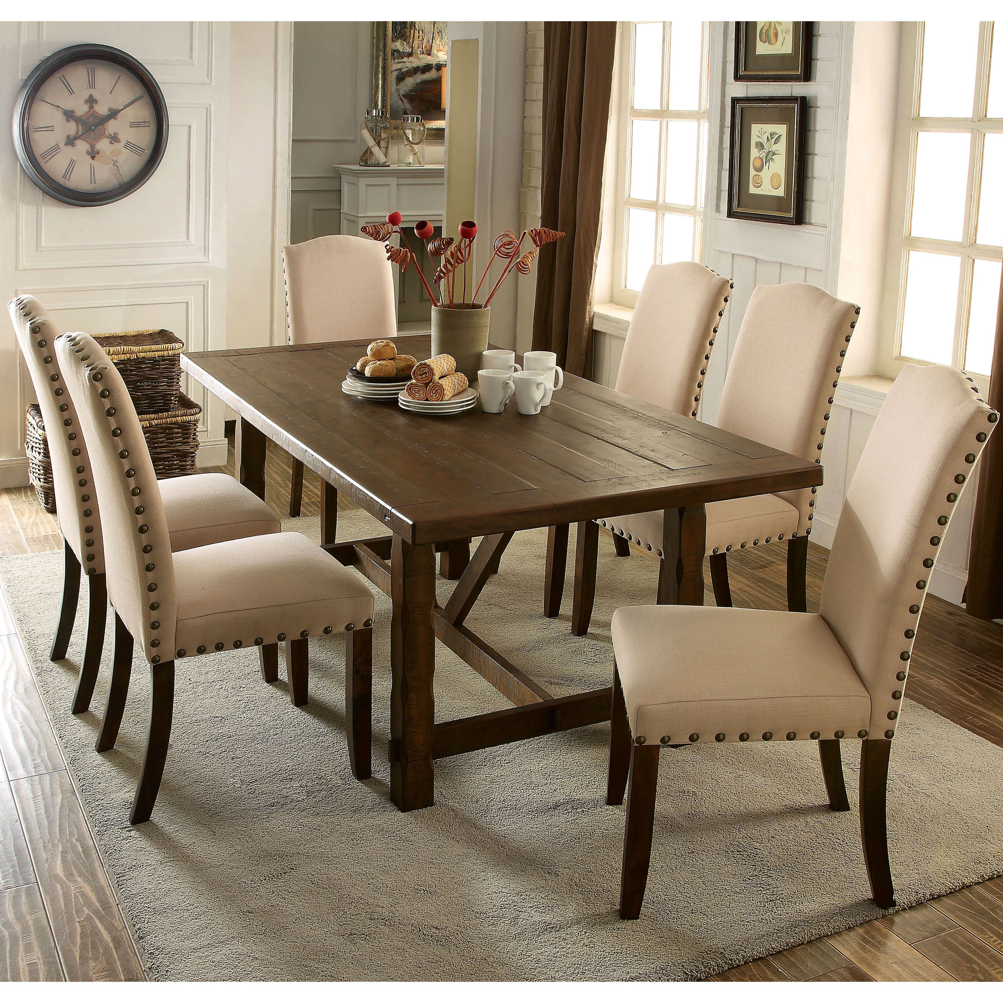 Bon Invitingly Cozy, This Seven Piece Dining Set Is A Gorgeous Display Of  Rustic And Modern Elements. The Plank Style Table Finished In Rustic Walnut  Sets The ...