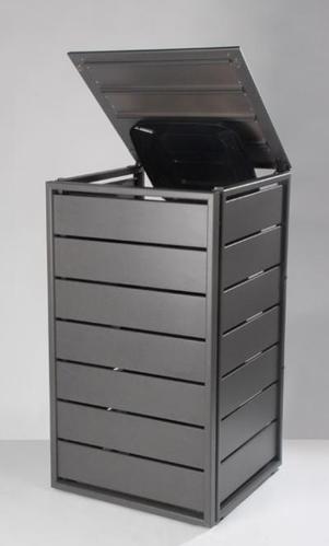Mülltonnenbox grau Aluminium - 1er 240L mit Klappdach-Classic