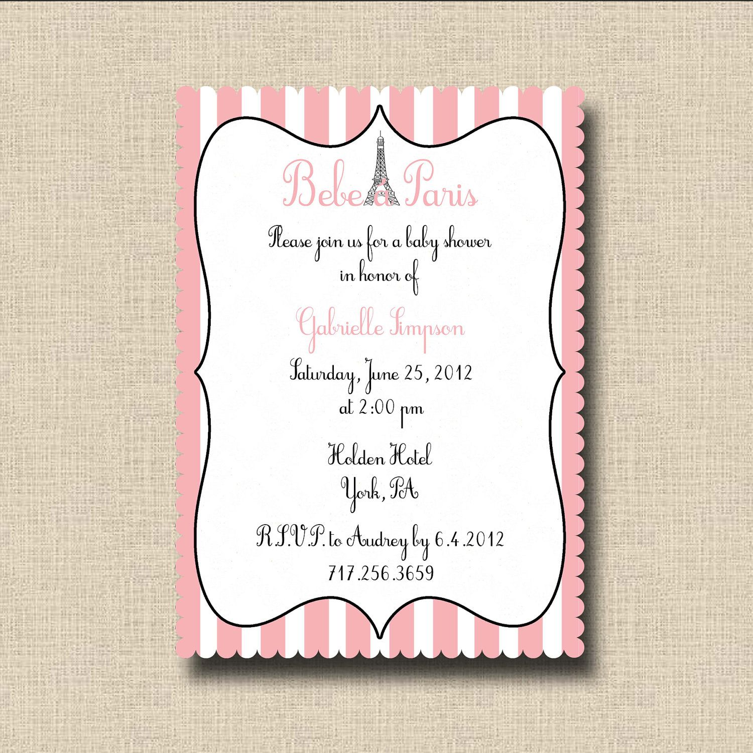 Bebe in Paris Baby Shower Invitation or French Pink Poodle in