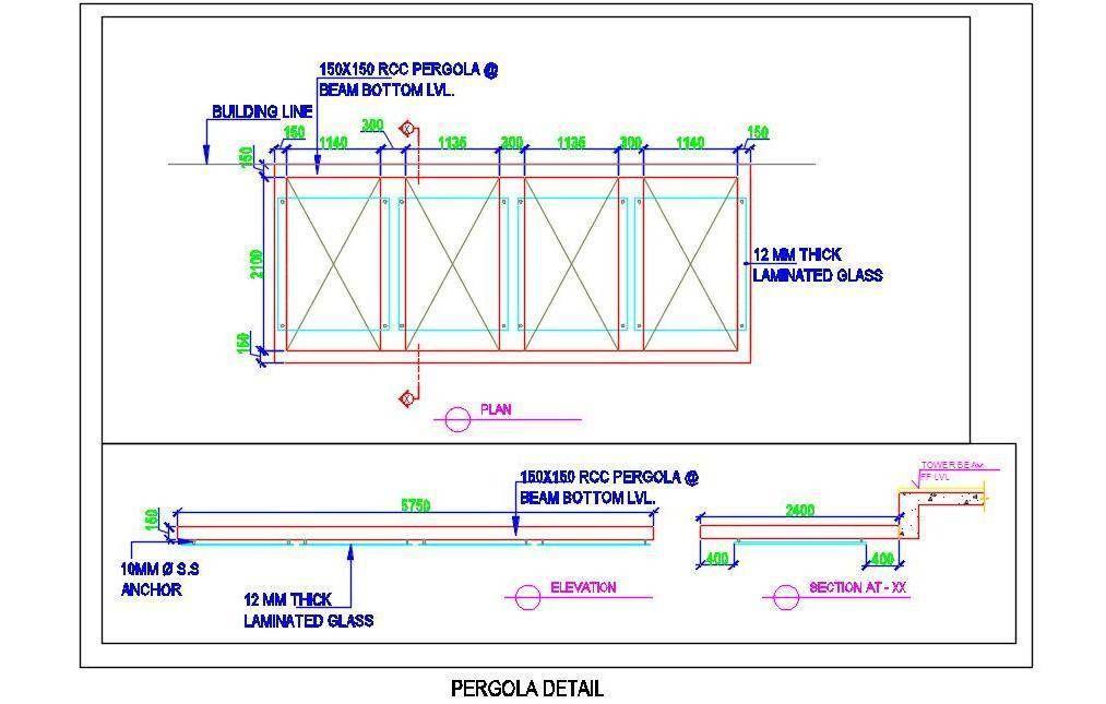 R.C.C. Pergola Detail Pergola, Laminated glass, Deck