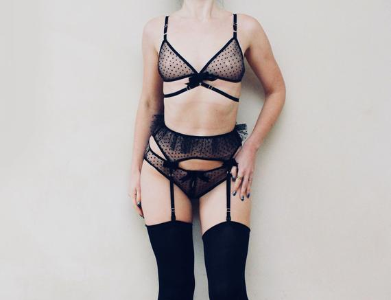 a085b58f26d4d MIST   Two pieces black see through lingerie set   panties and bralette    Made to order