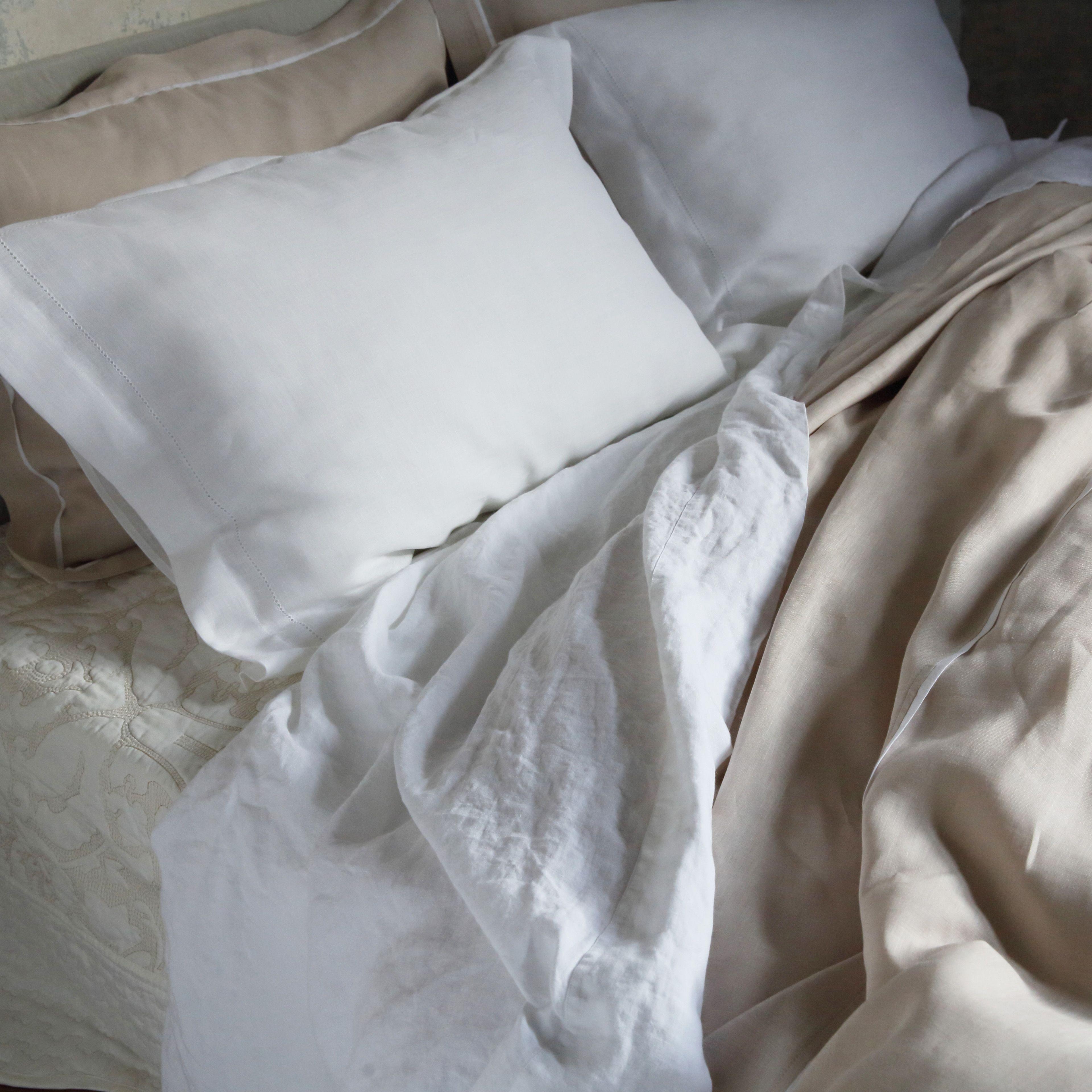 Hemstitched Bed Linen Optical White #linenme #whitelinen #linen #bedlinen