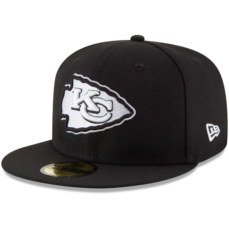 26489618f4ac0 Men s Kansas City Chiefs New Era Black B-Dub 59FIFTY Fitted Hat ...