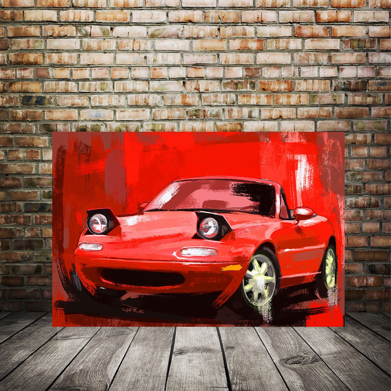 Mazda Miata Red Painting Automotive Decor Large Wall Art Etsy In 2020 Painting Large Wall Art Miata