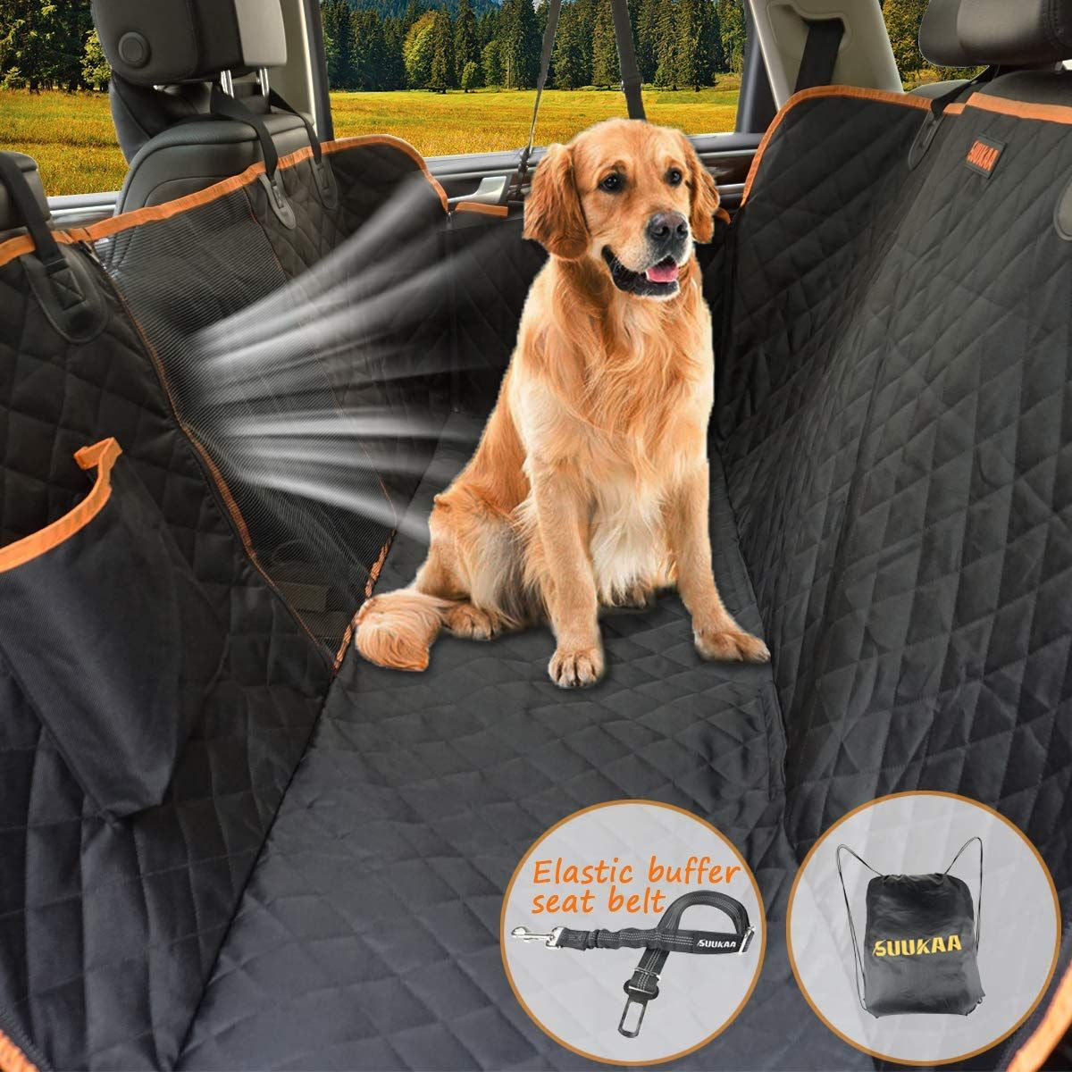 Waterproof Scratchproof Dog Seat Cover with Storage Bag Extra Wide Side Flaps Dog Front Seat Cover Nonslip Quilted Durable Pad for Cars Trucks and SUVs