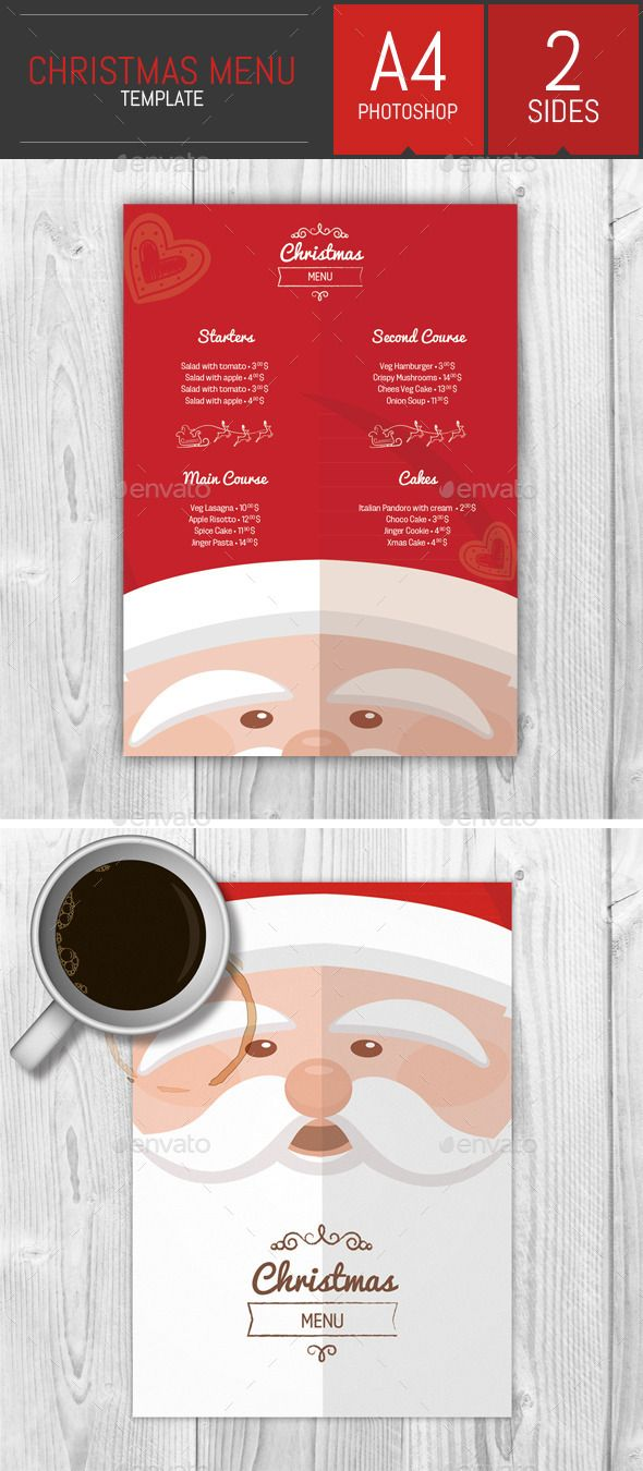 A4 Christmas Menu Template
