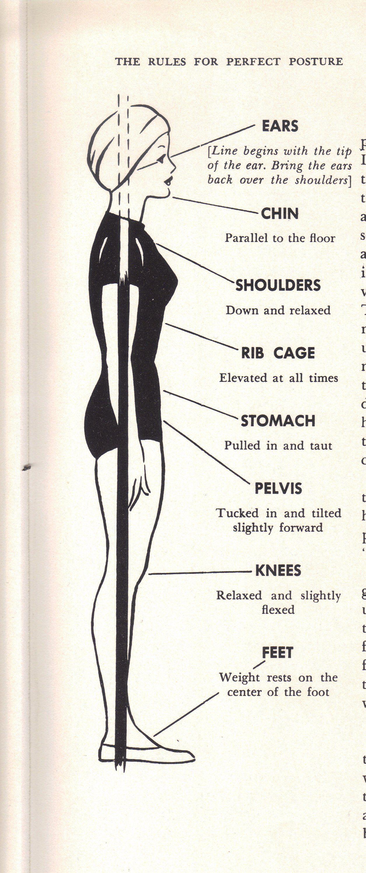 1950s Charm School Model Posture Modern Retro Woman Perfect Posture Pilates Body