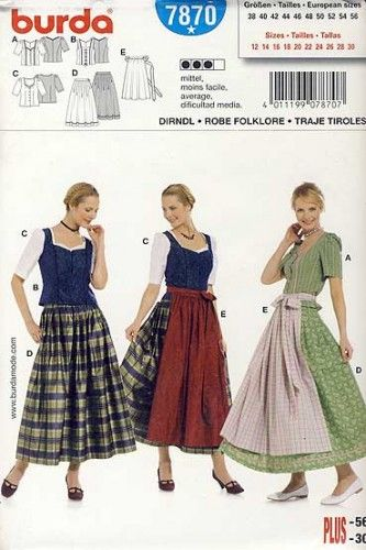 BURDA SEWING PATTERN DIRNDL APRON DRESS GERMAN FOLKWEAR COSTUME U-PICK BLOUSE