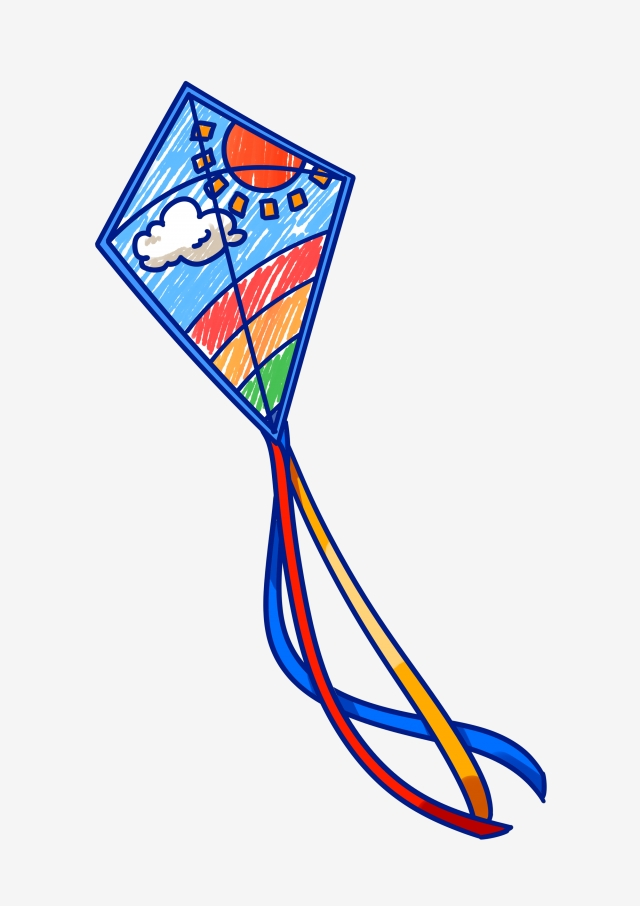 Blue Kite Beautiful Kite Hand Drawn Kite Cartoon Kite Flying Kite