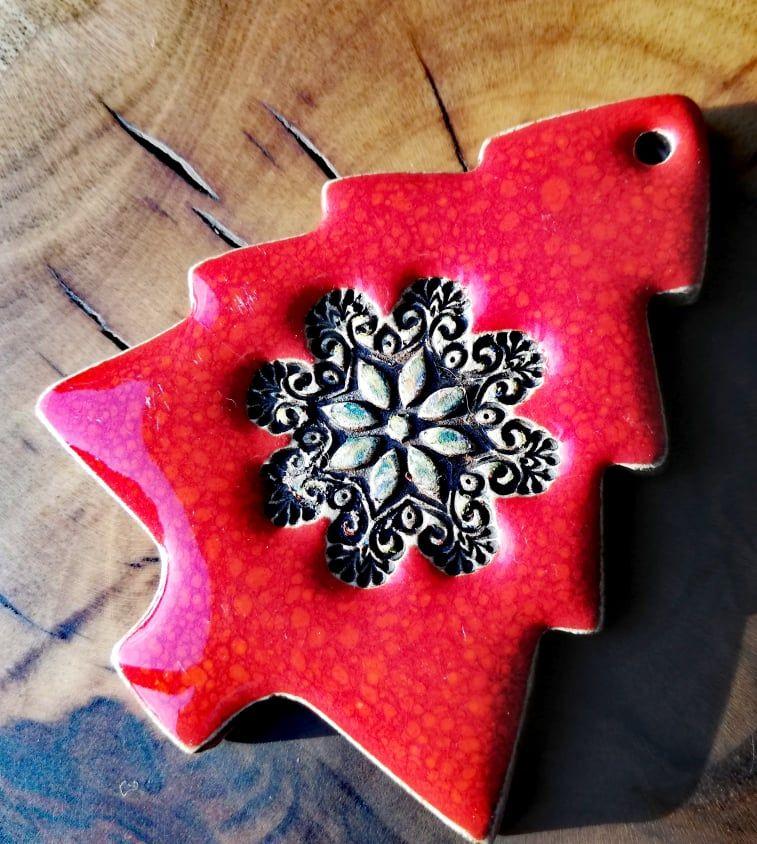 Zawieszka Choinka Mandala Czerwone Dekoracje Swiateczne Ceramika Artystyczna Gaia Prezenty Ceramics Sugar Cookie Jar
