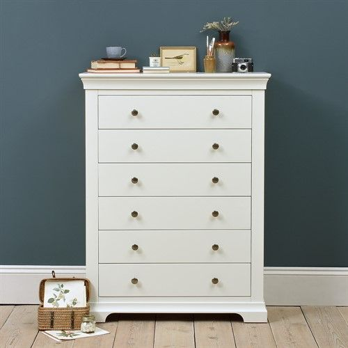 Best Chantilly White Tall 6 Drawer Chest The Cotswold Company 400 x 300
