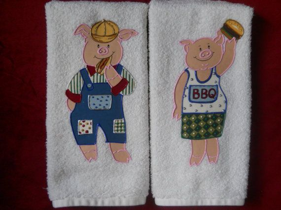 Kitchen hand towels bathroom hand towels set of barbeque pig