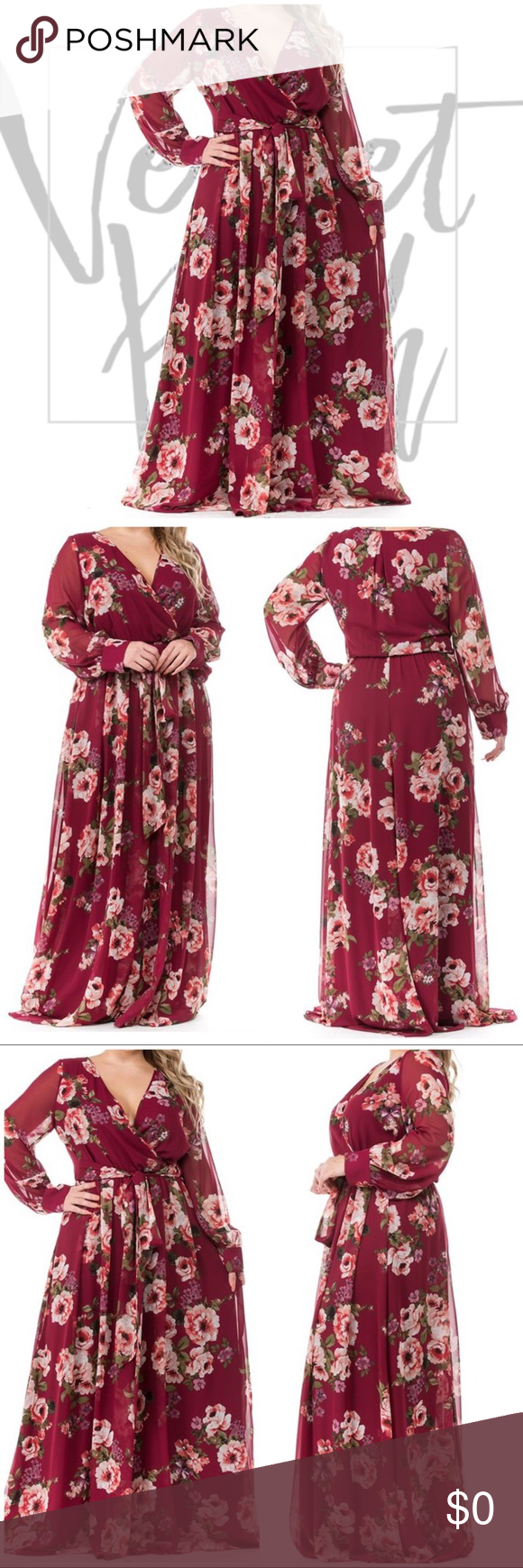 Photo of JUST IN!! Plus Size Burgundy Floral Maxi Dress Premium Collection- Long Drape V …