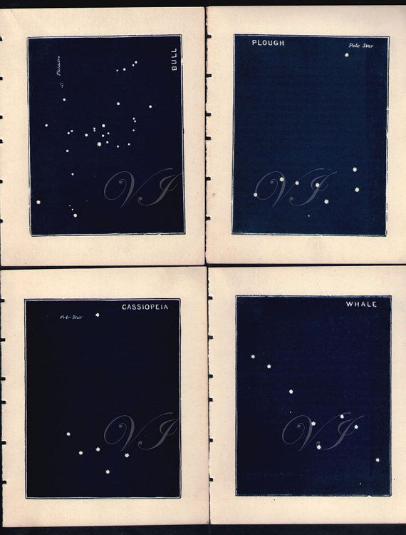 1890s STAR MAP SET pole plough whale bull by VintageInclination, $45.00