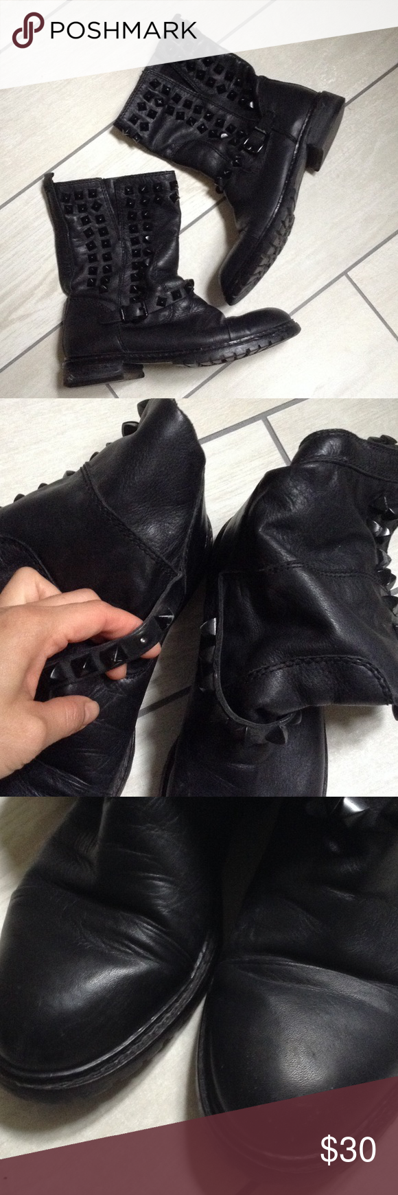Zara Studded Leather Moto Boots Well loved in good fair condition. Size 6. Paid over $100. Scuffing all around and missing one stud but cannot tell because it's on the inside. Please see pics! Super comfy! Needs a new home! Pet and smoke free home! Zara Shoes Ankle Boots & Booties