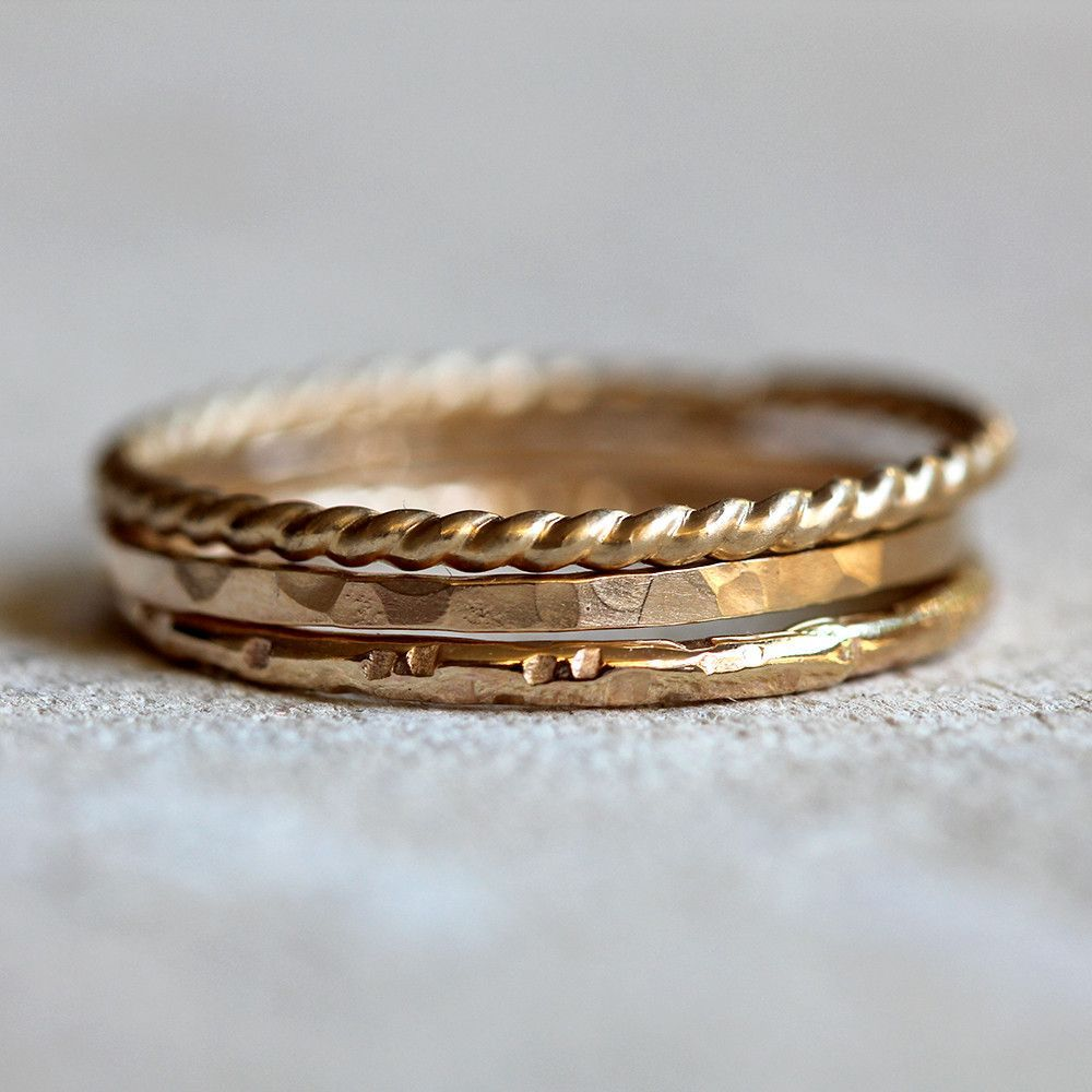 14k gold stacking rings solid gold stacking rings