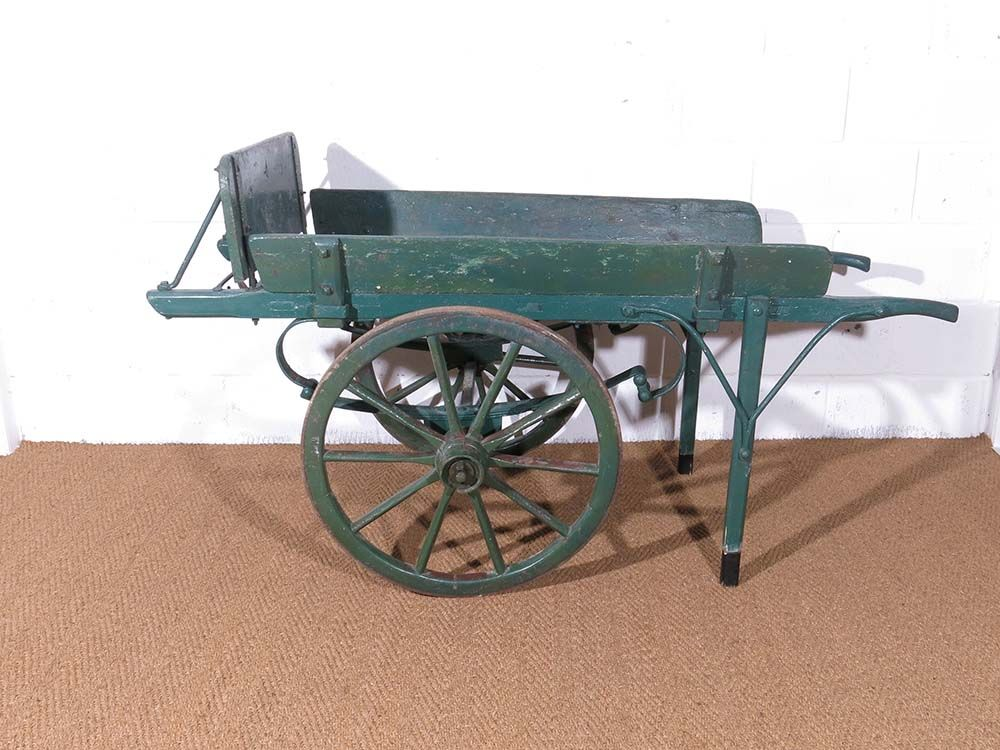 Green painted solid wood hand cart with wheels and handles  Great