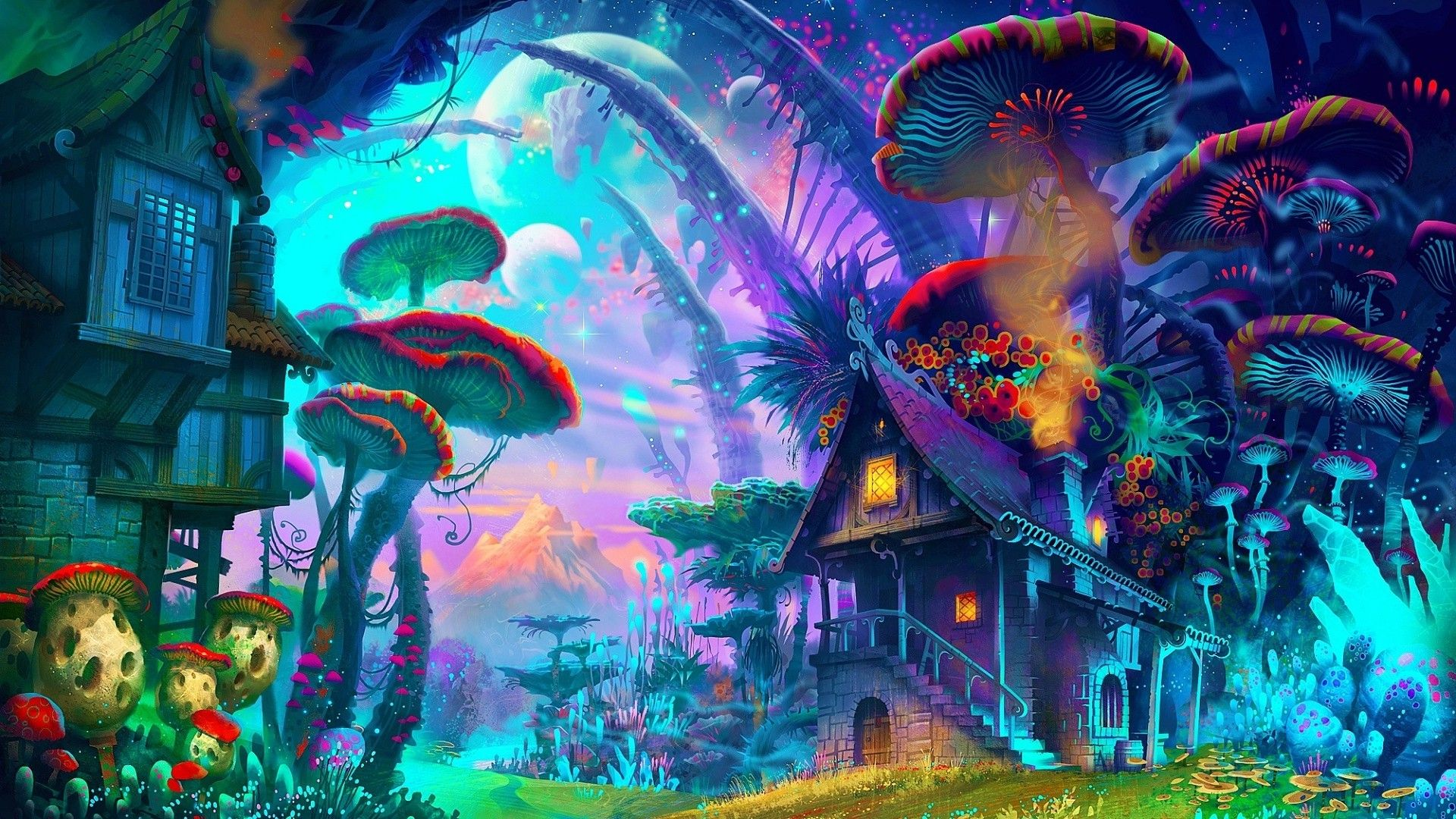 Fantasy art drawing nature psychedelic colorful house mushroom planet plants mountain wallpaper and background