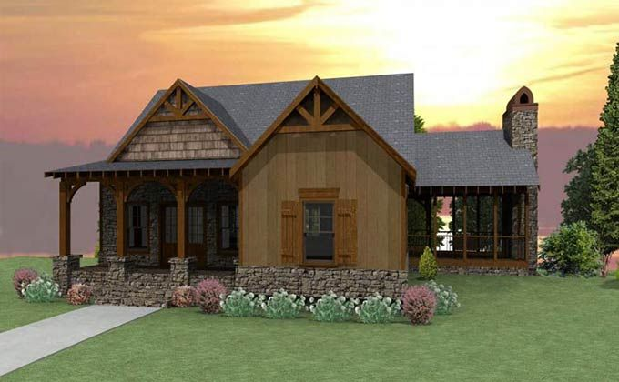 3 bedroom craftsman cottage house plan with porches for Rustic mountain house plans one story
