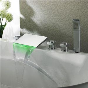 Auto alimenté 5 Pieces LED cascade baignoire Robinets de douche avec