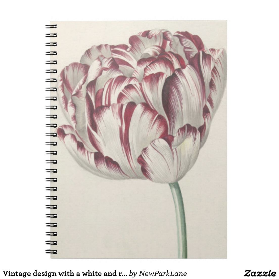 Notebook with vintage design with a white and red tulip  http://www.zazzle.com/vintage_design_with_a_white_and_red_tulip_notebook-130264158535528866?rf=238731775801296307