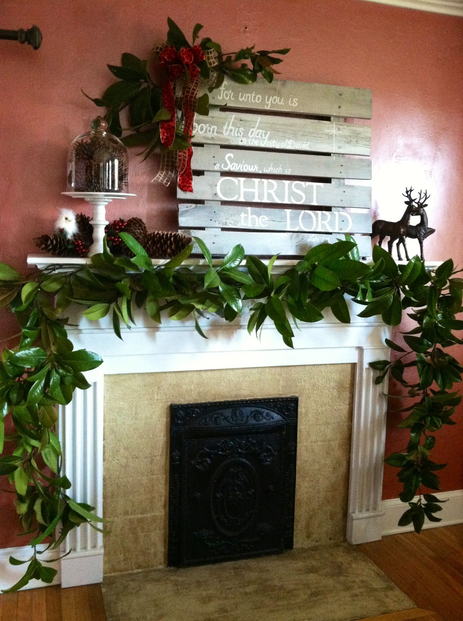 Mantle Decked W Magnolia Garland For Christmas Christmas