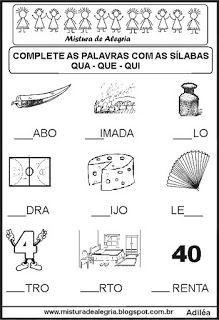 Atividades De Alfabetizacao Completar Silabas Com Imagens