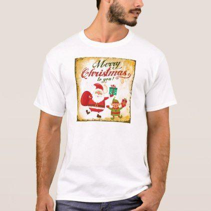 vintage merry christmas daning santa and elf t shirt