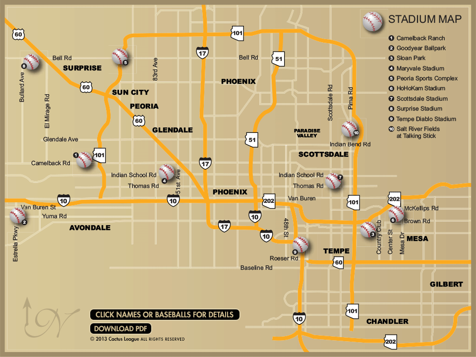 Cactus League Stadium Map SpringTraining Baseball Arizona