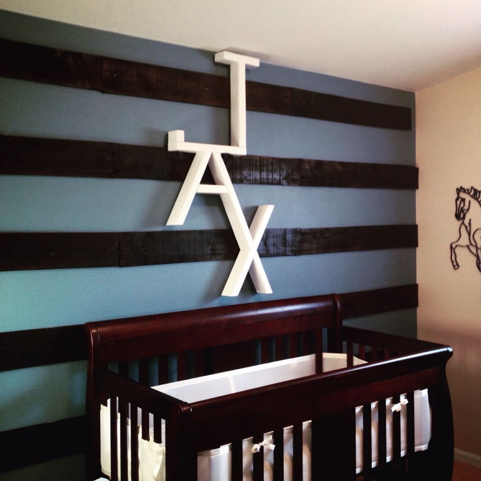 Nursery accent wall for our baby boy with pallet wood!