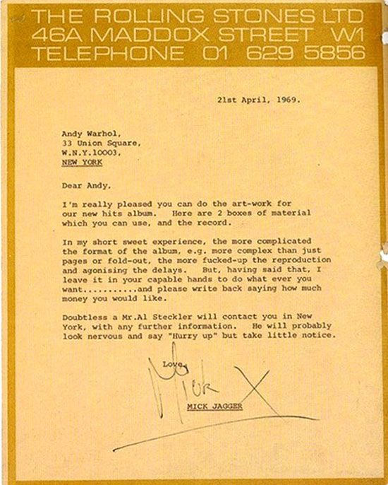 Andy Warhol Creative Brief From Mick Jagger | Cool Stuff