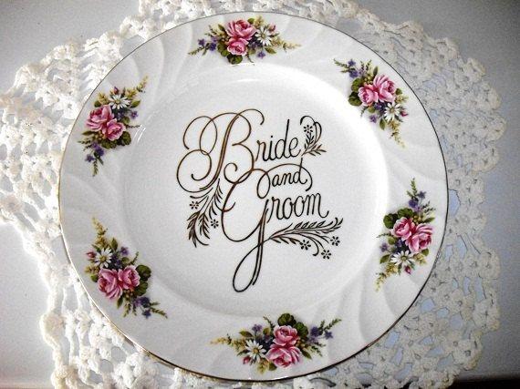 Chatillon Porcelain Wedding Plate , Bride And Groom Cake